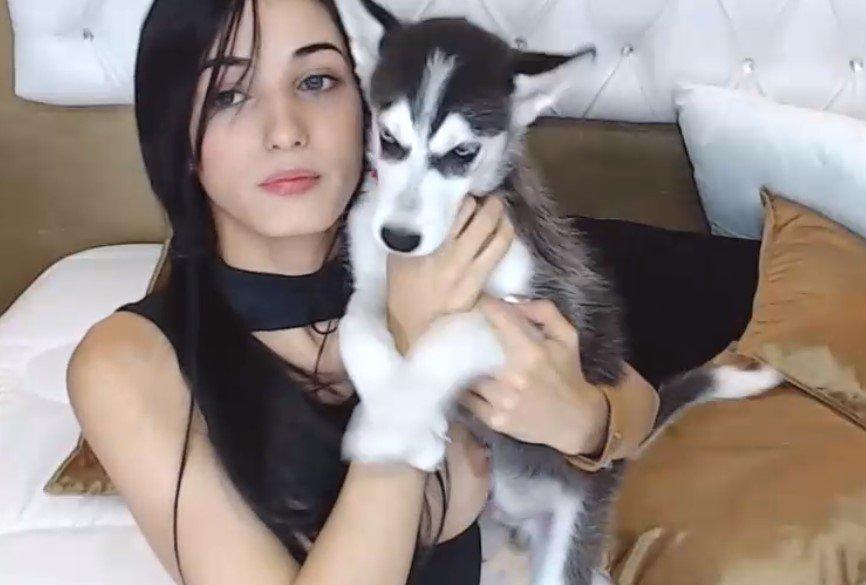 cute ladyboy with dog